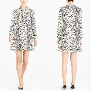 NWT J Crew Animal Print Pintuck Ruffle Dress